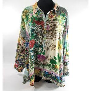 Floral Silk Oversize Silk Blouse XL NEVER WORN!